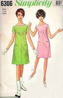 1960s MOD Dress Pattern SIMPLICITY 6306 Classic Swinging 60s London Dress Bust 32 Vintage Sewing Pattern FACTORY FOLDED
