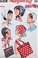 1960s CUTE Hat, Scarves, and Tote Bags Pattern SIMPLICITY 6358 Simple to sew Two Tote Bag Sizes, Two Hat Styles Vintage Sewing Pattern FACTORY FOLDED