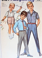 1960s CUTE Little Boys Pants,Short Pants and Shirt Pattern SIMPLICITY 6424 Childrens Size 3 Vintage Sewing Pattern