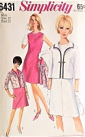 1960s MOD A Line Dress and Jacket Pattern SIMPLICITY 6431 Easy Elegance Bust 32 Vintage Sewing Pattern FACTORY FOLDED