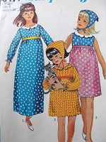 1960s Vintage BOHO Children's Empire Waist Dress and Scarf Simplicity 6477 Sewing Pattern Chest 24