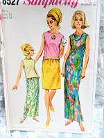 1960s CLASSY Skirt,Dress and Overblouse Pattern SIMPLICITY 6527 Skirts in Regular or Maxi Lengths, Sleeveless Overblouse, Maxi Patio Evening Dress Bust 34 Vintage Sewing Pattern FACTORY FOLDED