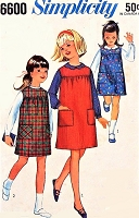 1960s PRETTY Girls Blouse and Jumper Dress Pattern SIMPLICITY 6600 Cute Styles Size 8 Childrens Vintage Sewing Pattern UNCUT