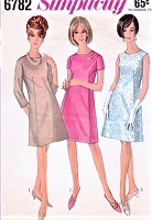 1960s CUTE Mod Dress Pattern SIMPLICITY 6782 A Line Shift Day or Cocktail Dress 3 Versions Bust 34 Vintage Sewing Pattern
