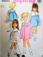 1960s ADORABLE Toddlers Dress and Coat Pattern SIMPLICITY 6899 Sweet Little Girls Outfit With 2 Detachable Collar Styles Size 2 Vintage Sewing Pattern