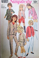 1960s MOD Girls Pants,Shorts Skirt and Jacket Pattern SIMPLICITY 6901 Cute Styles Size 8 Vintage Sewing Pattern