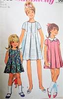 1960s MOD Girls Dress Pattern SIMPLICITY 7035 Three Sweet Styles Size 8 Childrens Vintage Sewing Pattern