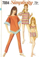 60s FAB Beach Wear Bathing Suit Pattern 2 PC Swimsuit, Slim Leg Cigarette Pants and Overblouse or Beach Cover Up SIMPLICITY 7094 Size 8 Vintage Sewing Pattern UNCUT