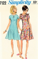 1960s FAB Princess Seam Fit and Flare Dress and Scarf Pattern SIMPLICITY 7122 Bust 38 Vintage Sewing Pattern FACTORY FOLDED