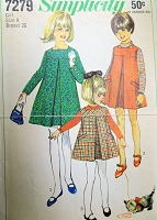 1960s CUTE Girls Dress or Jumper Pattern SIMPLICITY 7279  Size 8 Childrens Vintage Sewing pattern