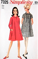 1960s MOD Dress Pattern SIMPLICITY 7325 Interesting Asymmetrical closing Design Version Bust 31 Vintage Sewing Pattern