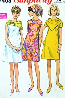 1960s MOD Dress Pattern SIMPLICITY 7469 Princess Seam A Line  Dress Triangular Scarf Bust 32 Vintage Sewing Pattern UNCUT