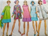 1960s MOD Dress and Scarf Pattern SIMPLICITY 7529 Fab A Line Dress In 5 Versions, Cute Styles Bust 34 Vintage Sewing Pattern FACTORY FOLDED