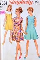 1960s MOD Dress Pattern SIMPLICITY 7534 Flared V Shaped Yoke Dress, 3 Versions Figure Flattering Design Bust 32 Vintage Sewing Pattern FACTORY FOLDED