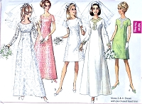 60s RETRO Wedding Dress Pattern SIMPLICITY 7538 A Line Princess Seams Bridal Gown Bridesmaids Dress Bust 31 Vintage Sewing Pattern