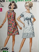 1960s Vintage FLIRTY MOD A-Line Dress with Ruffles in Two Styles Simplicity 7626 Sewing Pattern Bust 32 1/2