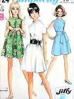 1960s MOD TENT Dress Pattern SIMPLICITY 7724 Three Cute Style Versions Bust 34 Easy To Sew Jiffy Vintage Sewing Pattern
