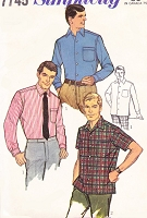 1960s CLASSIC Mens Tapered Sport Shirt Pattern SIMPLICITY 7745  Business or Casual Chest 46 Vintage Gentlemens Sewing Pattern