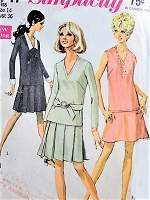 1960s CUTE 2 Pc Mod Dress Pattern SIMPLICITY 7747 Dress With 2 Skirts and Detachable Collar Cuffs Flapper Inspired Design Bust 36 Vintage Sewing Pattern