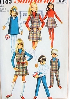 1960s CUTE Girls Jumper or Top, Skirt and Pants Pattern SIMPLICITY 7785 Size 8 Childrens Vintage Sewing Pattern FACTORY FOLDED