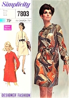 1960s MOD Designer Fashion Dress Pattern SIMPLICITY 7803 Classy Day or After 5 Dress Bust 34 Vintage Sewing Pattern