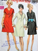 Vintage 1960s MOD A-line Dress with a  V Neckline Simplicity 7845 Sewing Pattern Bust 34