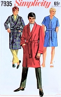 1960s DAPPER Gentlemens Bath Robe Lounging Robe Pattern SIMPLICITY 7935 Three Style Versions Lounging Coat Bathrobe Pajamas Medium Size Menswear Vintage Sewing Pattern UNCUT