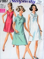 Vintage 1960s PRETTY Princess Line Dress in Three Styles with Stand-up Collar or Collarless Simplicity 7987 Sewing Pattern Bust 34