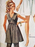 1960s TEMPTING Mini Dress and Bell-Bottom Pants Simplicity 8033 Vintage Sewing Pattern Bust 34