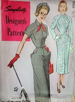 1940s CHIC Slim Dress Pattern SIMPLICITY Designers 8058 Classy Design Details Bust 32 Vintage Sewing Pattern