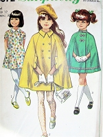 1960s CUTE Girls Cape and dress Pattern SIMPLICITY 8072 Sweet Princess Seam Dress and Classic Cape Coat Size 12 Childrens Vintage Sewing Pattern