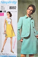 1960s MOD Dress and Jacket Pattern SIMPLICITY Designer Fashion 8092 Color Block A Line Size 8 Vintage Sewing Pattern UNCUT