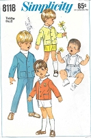 ADORABLE 1960s Toddlers Pattern SIMPLICITY 8118 Cute Little Boys Long Pants, Shorts and Jacket Childrens  Size 2 Vintage Sewing Pattern FACTORY FOLDED