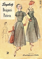 1940s BEAUTIFUL Camisole Top Dress and Lovely Scalloped Yoke Length Bolero Pattern SIMPLICITY Designers 8119 Bust 30 Vintage Sewing Pattern