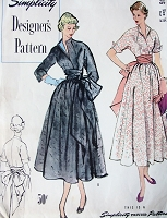 1940s LOVELY Dress Pattern SIMPLICITY Designers 8136 Slit Neckline Kimona Top Full Skirt Dress with Cummerbund Day or Evening Party Bust 34 Vintage Sewing Pattern FACTORY FOLDED