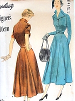 1940s STYLISH Godet Dress Pattern SIMPLICITY Designers 8147 Beautiful Tailored Flared Dress Bust 36 Vintage Sewing Pattern