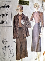 1940s Vintage SMART Boxy Coat, Blouse, Skirt Simplicity 8155 Sewing Pattern Bust 34