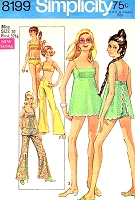 1960s CUTE Beachwear Pattern SIMPLICITY 8199 Gidget Style Baby Doll 2 Pc Bathing Suit, Bell Bottom Hip Hugger Pants, Sheer Cover Up Top Swimsuit Size 10 Vintage Sewing Pattern