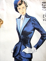 1940s CLASSY Slim Suit Pattern SIMPLICITY Designers 8207 Figure Hugging Suit, Tailored Jacket has  Long Revers Bust 34 Vintage Sewing Pattern