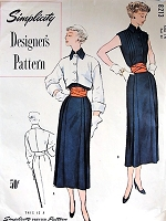 1940s FABULOUS Slim Dress, Crop Jacket  and Wide Belt Pattern SIMPLICITY Designers 8213  Daytime or After 5 Beautiful Couture Details Bust 34 Vintage Sewing Pattern