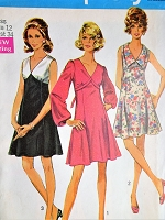 1960s MOD Dress Pattern SIMPLICITY 8243 V Neckline Dress Flared Skirt,Three Figure Flattering Style Versions,Bust 34 Vintage Sewing Pattern