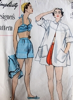 1950s FABULOUS Swing Back Beach Coat and 2 Pc Swimsuit Pattern SIMPLICITY Designers 8258 Lovely Beachwear Styles Bust 30 Vintage Sewing pattern