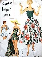 1950s BEACHWEAR Bathing Suit and Skirt Pattern SIMPLICITY Designers 8271 Two Fabulous Swimming Suits, Full Lovely Skirt Bust 30 Swimwear Vintage Sewing Pattern FACTORY FOLDED