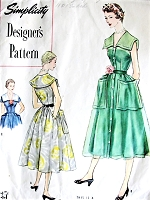 1950s PRETTY Summer Dress Pattern SIMPLICITY Designers 8280 Lovely Collar, Large Pockets Front Button Dress Bust 32 Vintage Sewing Pattern FACTORY FOLDED