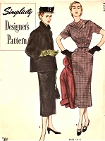 1950s CLASSY Slim Dress and Jacket Pattern SIMPLICITY Designers 8320 Pointed Front and Back Yoke Slim Dress, Cuffed Jacket Daytime or After 5 Bust 30 Vintage Sewing Pattern