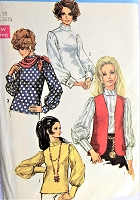 1960s Vintage CLASSY Blouse with Gathered Sleeves and matching Vest and Scarf Simplicity 8351 Sewing Pattern Bust 32 1/2