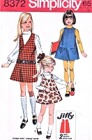 1960s CUTE Girls Jumper Pattern SIMPLICITY 8372 Mod Jumper or Dress Three Versions Size 7 Vintage Childrens Sewing Pattern UNCUT