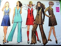 1960s FAB Mod Dress or Jumper,Tunic and Pants Pattern SIMPLICITY 8382 Lace Up Details 5 Style Versions Bust 36 Vintage Sewing Pattern UNCUT
