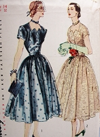 1950s Vintage BEAUTIFUL Evening Dress with Gathered Four-Gore Skirt Simplicity 8396 Sewing Pattern Bust 32