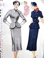 1950s STRIKING Suit Dress Pattern SIMPLICITY 8414 Unique Curved Closing Fitted Jacket Two Versions Bust 32 Vintage Sewing Pattern